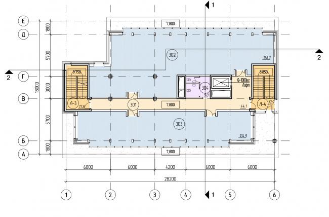 БЦ «Красносельский». План мансардного этажа