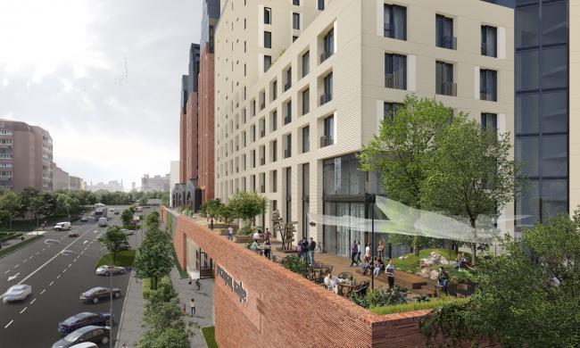 The multifunctional housing complex with an underground parking garage at Malaya Pochtovaya, 12