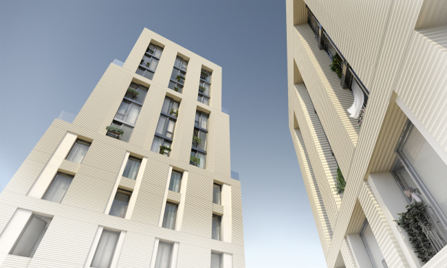 The multifunctional housing complex with an underground parking garage at Malaya Pochtovaya, 12