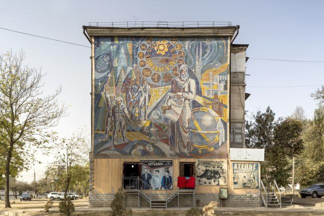 Мозаика с изображением Ибн Сины (Авиценны) в Душанбе. Авторы И. Рахнаев, А. Григоров, И. Ильяев