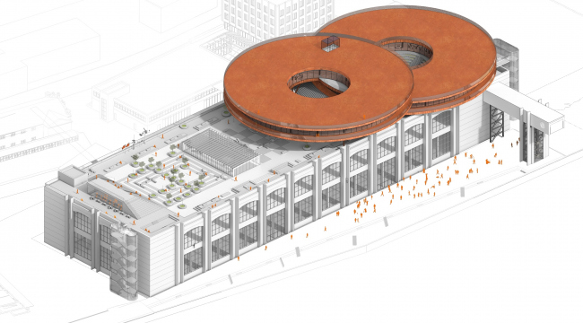 """Concept of the public and office campus on the roof of Production Facility B on the territory of """"Sevkabel Port""""."""