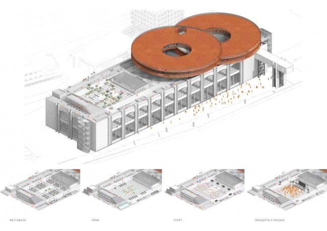 Концепция общественно-делового кампуса на крыше производственного корпуса Б на территории «Севкабель Порт». Аксонометрия