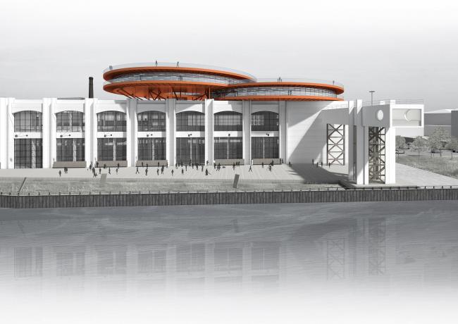 Концепция общественно-делового кампуса на крыше производственного корпуса Б на территории «Севкабель Порт». Вид с воды