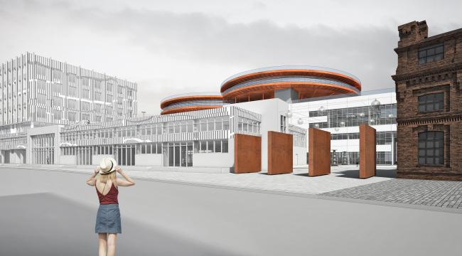 Концепция общественно-делового кампуса на крыше производственного корпуса Б на территории «Севкабель Порт». Вид с кожевенной линии
