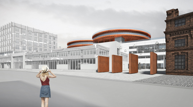 "Concept of the public and office campus on the roof of Production Facility B on the territory of ""Sevkabel Port"". View from the Kozhevennaya Line"