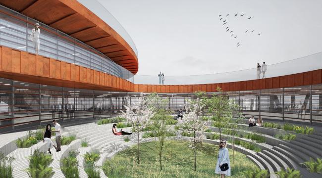 Концепция общественно-делового кампуса на крыше производственного корпуса Б на территории «Севкабель Порт». Внутренний двор офисов