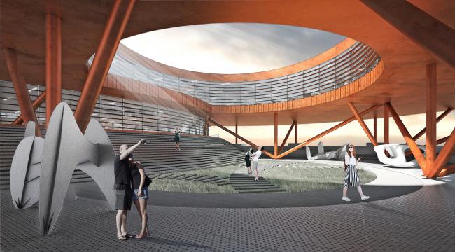 Концепция общественно-делового кампуса на крыше производственного корпуса Б на территории «Севкабель Порт». Двор, вход