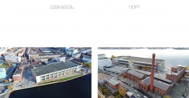 Концепция общественно-делового кампуса на крыше производственного корпуса Б на территории «Севкабель Порт». Место