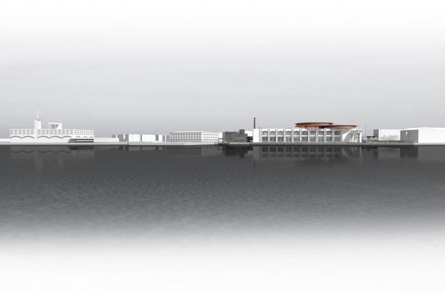 Концепция общественно-делового кампуса на крыше производственного корпуса Б на территории «Севкабель Порт». Морской фасад