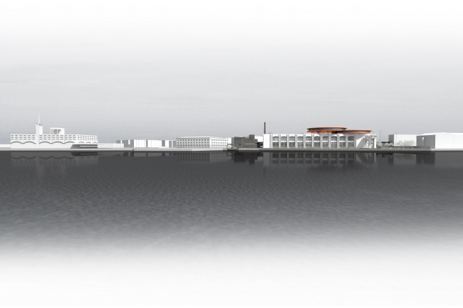 "Concept of the public and office campus on the roof of Production Facility B on the territory of ""Sevkabel Port"". The sea facade"
