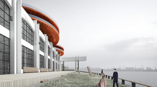 Концепция общественно-делового кампуса на крыше производственного корпуса Б на территории «Севкабель Порт». Набережная
