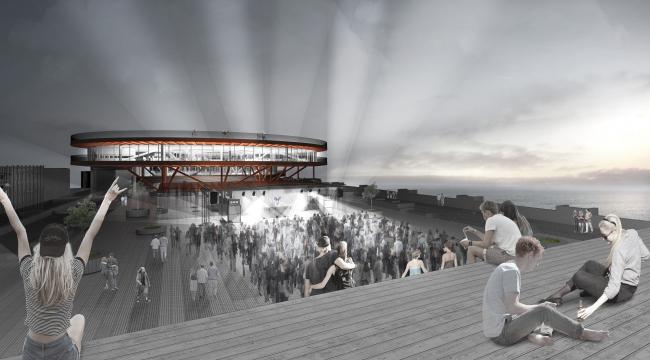 Концепция общественно-делового кампуса на крыше производственного корпуса Б на территории «Севкабель Порт». Ночная жизнь