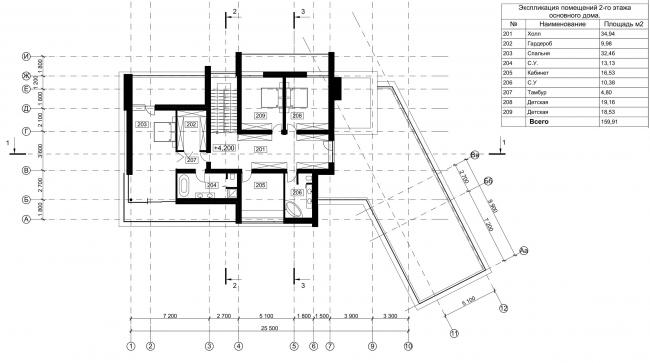 Особняк Данилова. План 2 этажа