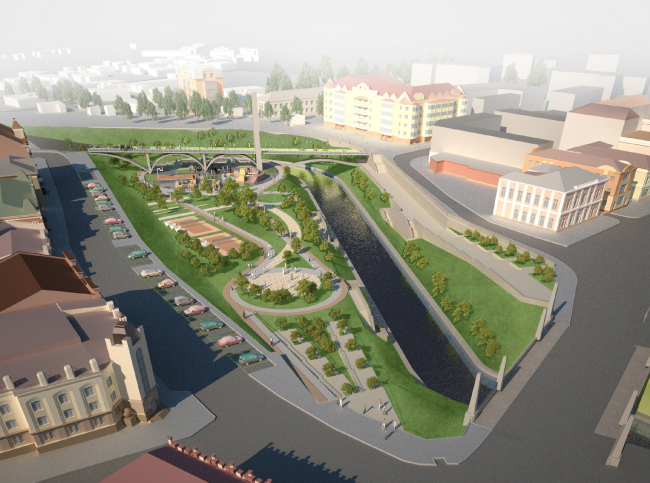 The reconstruction of the bank of the Ushaika River