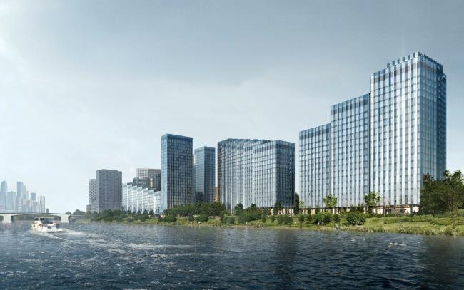 Жилой комплекс «Береговой». Вид с Москвы-реки2019 год