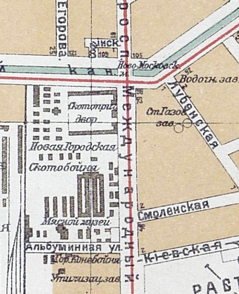Fragment of the map of Saint Petersburg. 1925