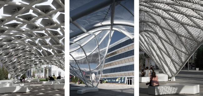 Общественные павильоны на центральном бульваре на ЭКСПО Астана 2017. Проект бюро «Новое».