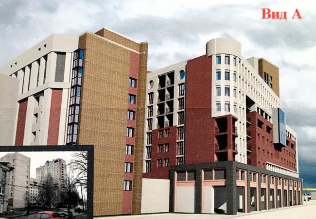 Вид на новый корпус со стороны Сердобольской улицы. Проект реконструкции общежития ЛЭТИ на Торжковской улице, пересъемка с планшета