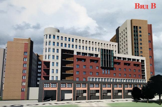 Вид со стороны Сердобольской улицы. Проект реконструкции общежития ЛЭТИ на Торжковской улице, пересъемка с планшета