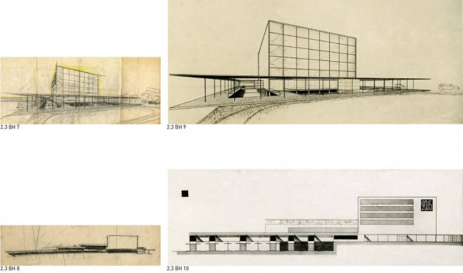 The railway station in Novosibirsk, 1930. All-Union competition. 2nd prize.