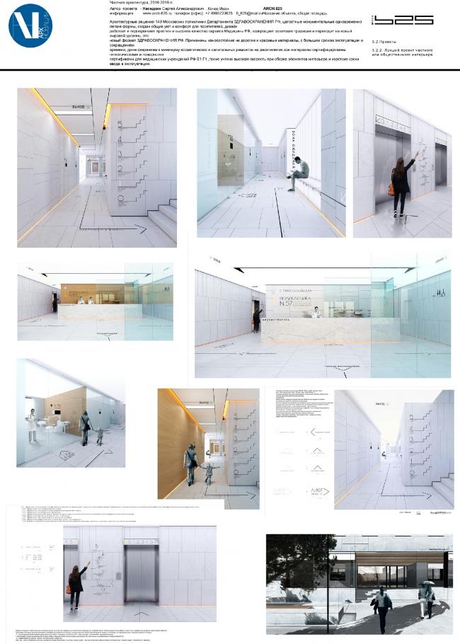 Архитектурные решения 149 Московских поликлиник Департамента здравоохранения РФ.  Архитектурная компания ARCH.625