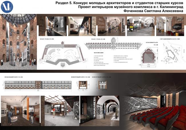 Проект интерьеров музейного комплекса в Калининграде.  Светлана Фоченкова