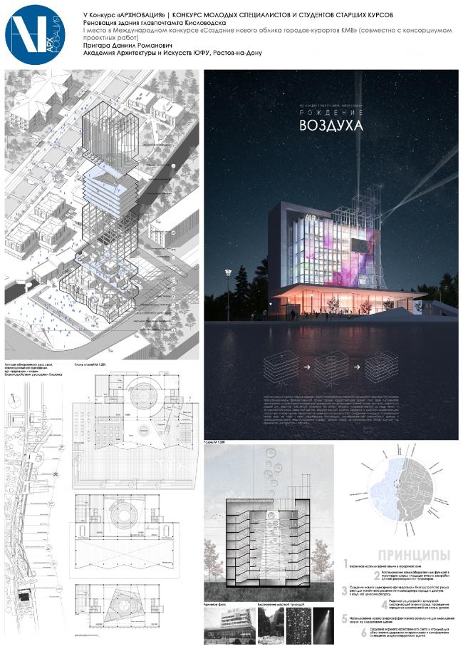 Реновация здания главпочтамта Кисловодска. «Рождение воздуха».  Даниил Пригара