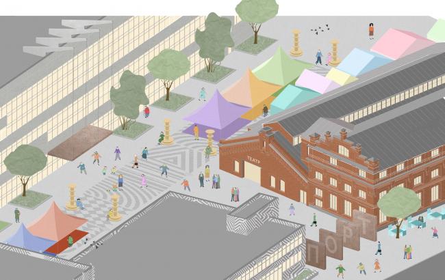 Пилоны входа и бульвар. Севкабель ПОРТ: проект-перспектива нового общественного пространства