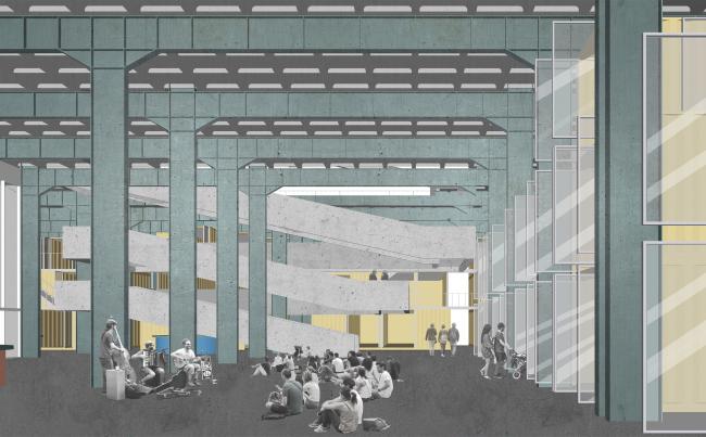 Корпус Б, холл, лестница. Севкабель ПОРТ: проект-перспектива нового общественного пространства