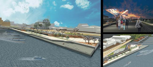 Проектное предложение пешеходной набережной, соединяющей первую и вторую очередь (вдоль ГРЭС и Пивзавода). Пилотный проект тематического парка «Гора самоцветов» для Самары