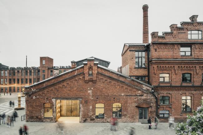 Слева катушечный корпус, выставочный зал, справа заводоуправление XIX века. Севкабель ПОРТ / проект АБ «Хвоя»