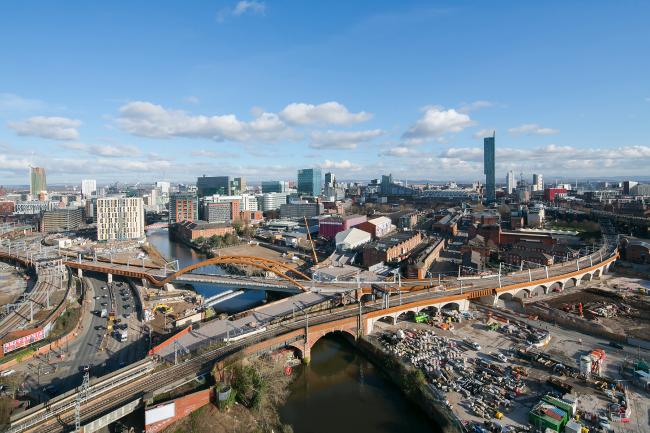 Железнодорожный мост Ordsall Chord, Манчестер.  BDP