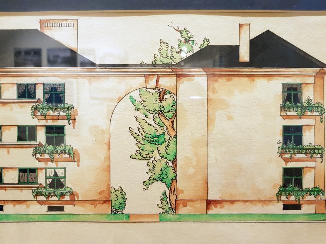 А.И. Гегелло. Жилой дом на Тракторной ул., эскиз, 1925