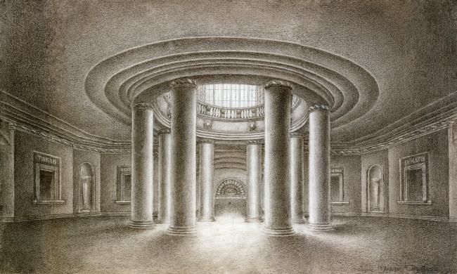 Вокзал в Курске. Колоннада светового отверстия распределительного зала. Рисунок И.Г. Явейна, 1948 г.