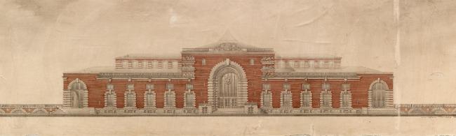 Вокзал в Курске. Фасад со стороны Привокзальной площади. Рисунок И.Г. Явейна, 1948 г.
