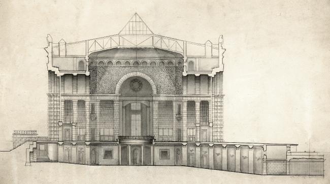 Вокзал в Курске. Поперечный разрез. Рисунок И.Г. Явейна, 1948 г.