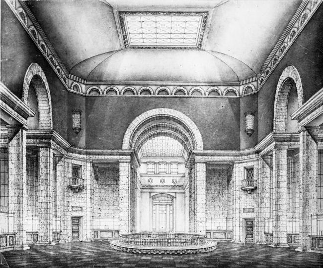 Вокзал в Курске. Центральный холл. Рисунок И.Г. Явейна, 1948 г.