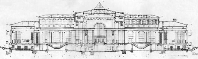 Вокзал в Курске, продольный разрез. Рисунок И.Г. Явейна, 1948 г.