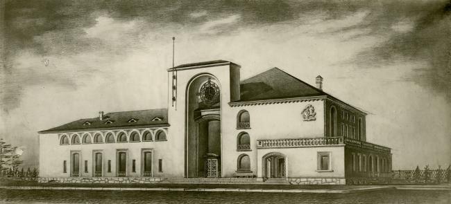Новгородский вокзал. Вид с вокзальной площади. Рисунок И.Г. Явейна, 1946 г.