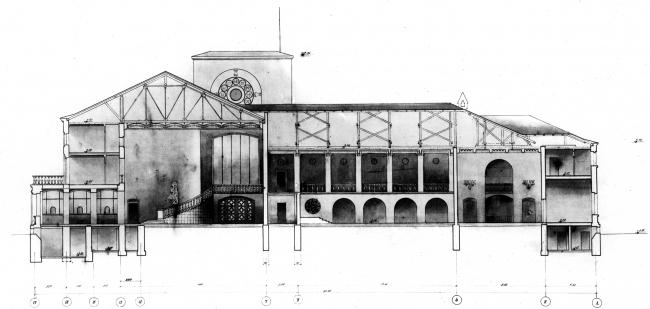 Новгородский вокзал, продольный разрез. Рисунок И.Г. Явейна, 1948 г.