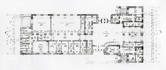Новгородский вокзал. План первого этажа. Проектный чертеж, 1946 г.
