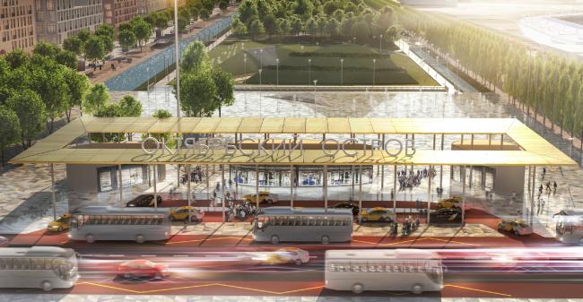 Мастер-план острова Октябрьский. Транспортно-пересадочный узел у Центрального парка