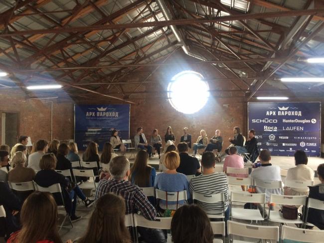 Дискуссия в АРХКЛУБЕ MATERIA, в общественно-деловом пространстве «Севкабель» на презентации выставки лауреатов премии ПроМоАрхДиз и премии AJAP.