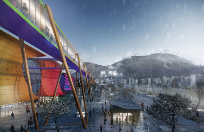 """The pedestrian overpass to the """"Gorny Vozdukh′ chairlift. The concept of architectural and town planning development of the city of Yuzhno-Sakhalinsk."""