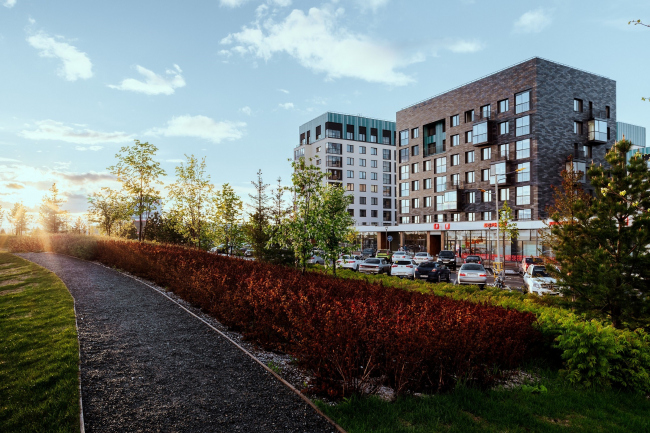Вид на жилой квартал со стороны парка