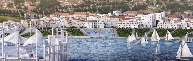 Регенерация припортовых кварталов в исторической части Феодосии. Панорама города с Амфитеатром на переднем плане