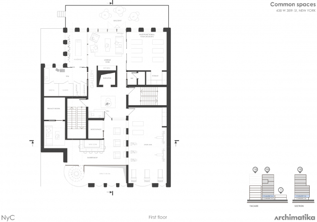 Комплекс Snail-apartments. План первого этажа
