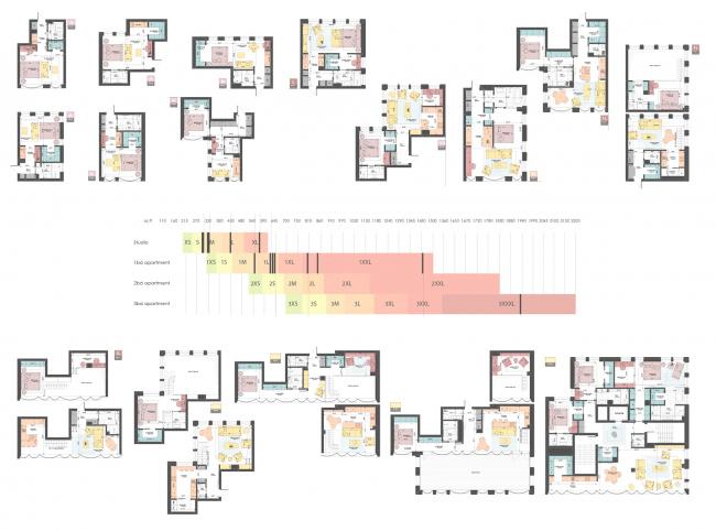 Snail Apartments housing complex. Apartment plans