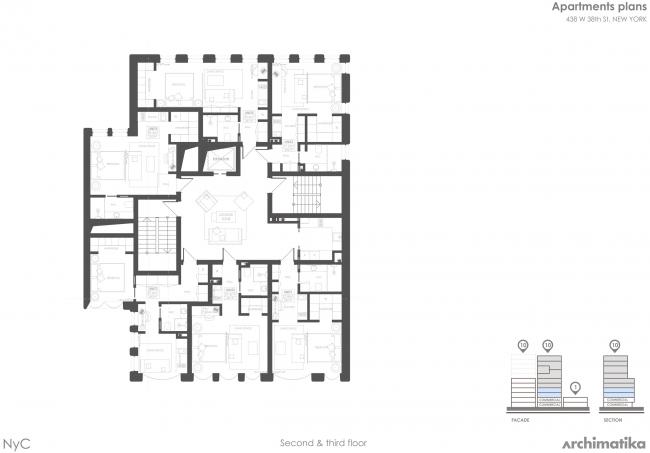 Комплекс Snail-apartments. План 2-3 этажей