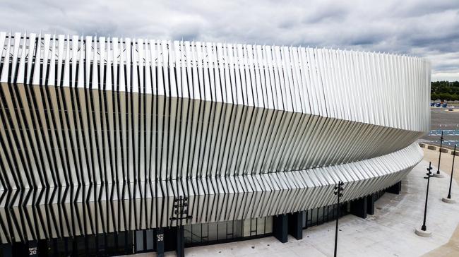 Nassau Veteran′s Memorial Coliseum, Uniondale, NY, USA.  Architect: SHoP Architects